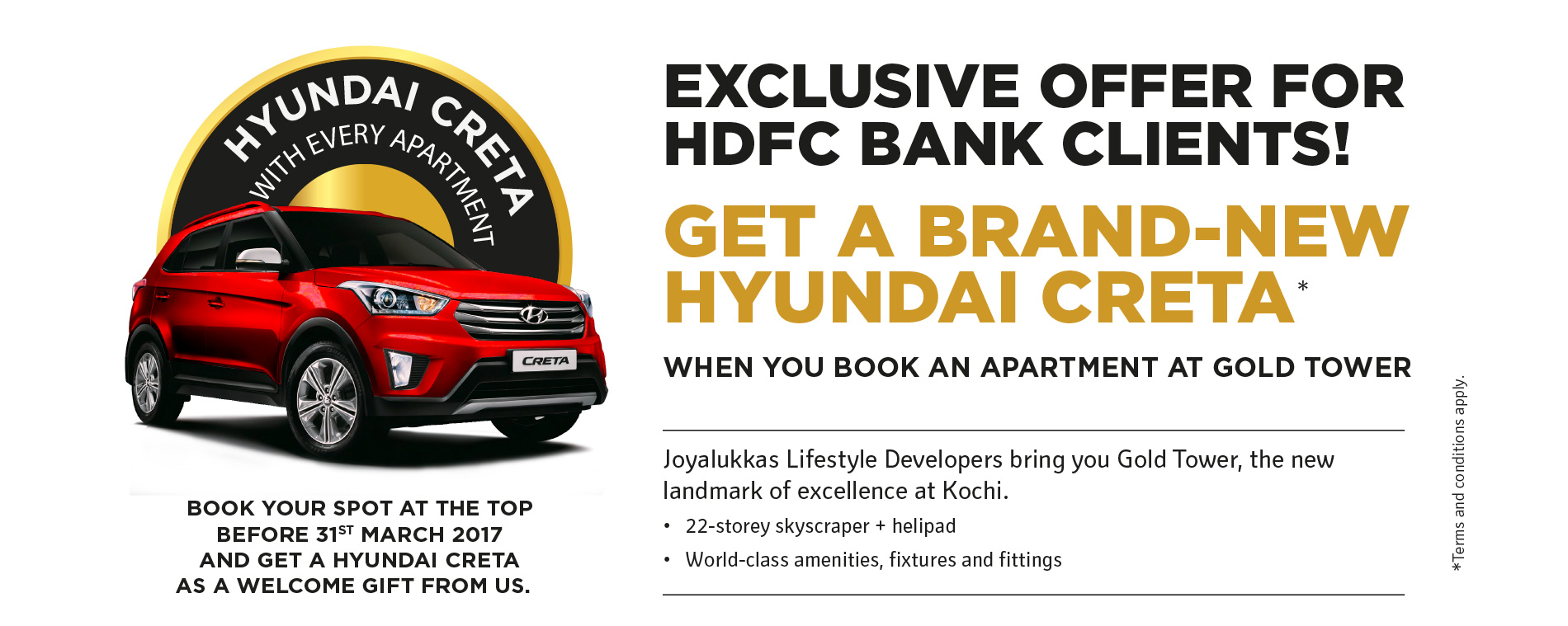 Image of offer details | get a brand new hyundai creta | when u book an apartment in gold tower